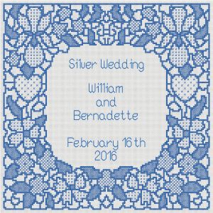 WEDDING SAMPLER LACE LOOK CROSS STITCH WHOLE STITCHED DESIGN BLUE ON WHITE revision of lettering 1